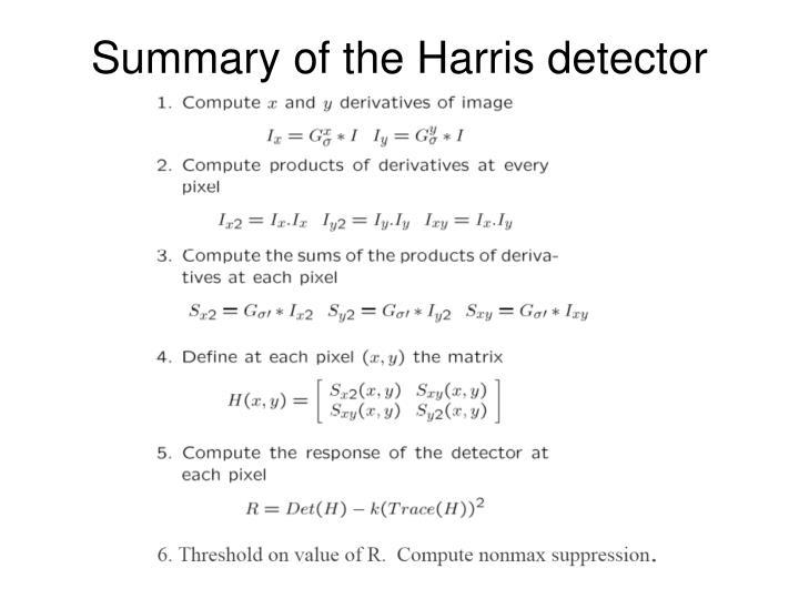 Summary of the Harris detector