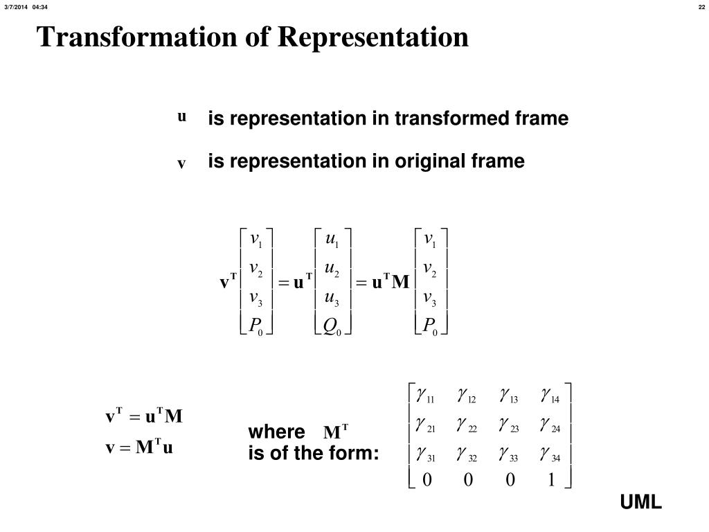is representation in transformed frame