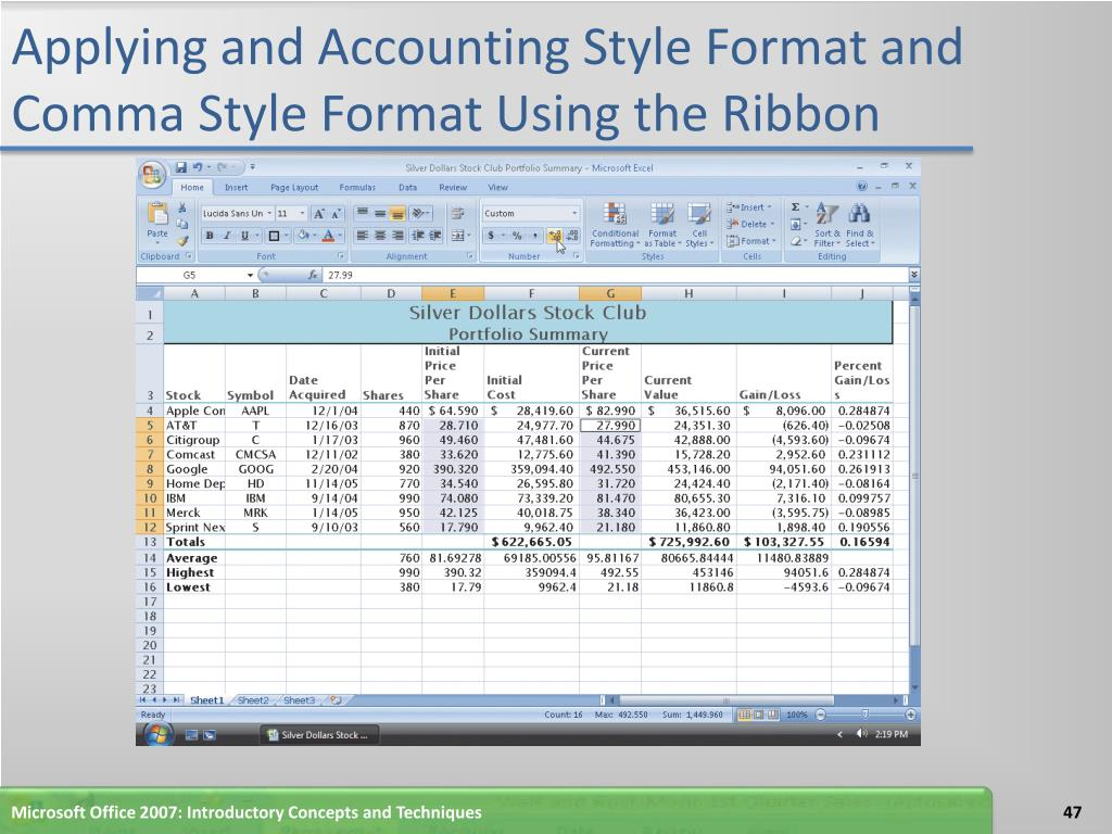 Applying and Accounting Style Format and Comma Style Format Using the Ribbon