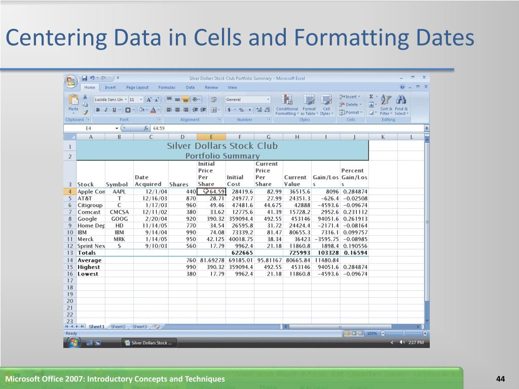 Centering Data in Cells and Formatting Dates