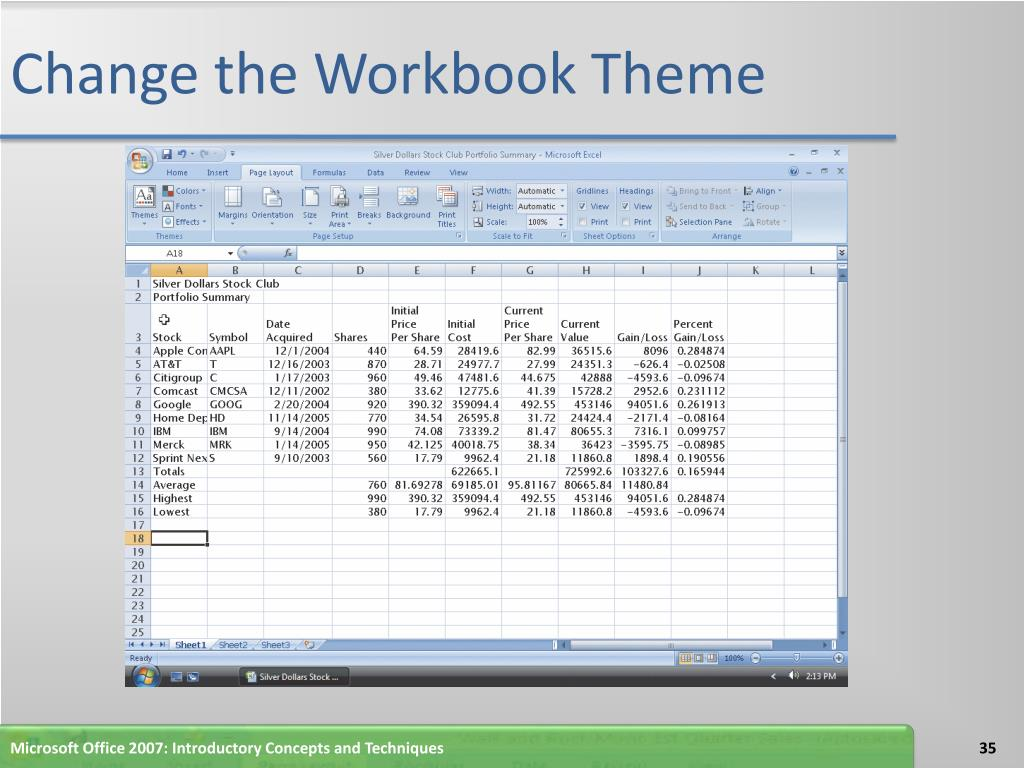 Change the Workbook Theme