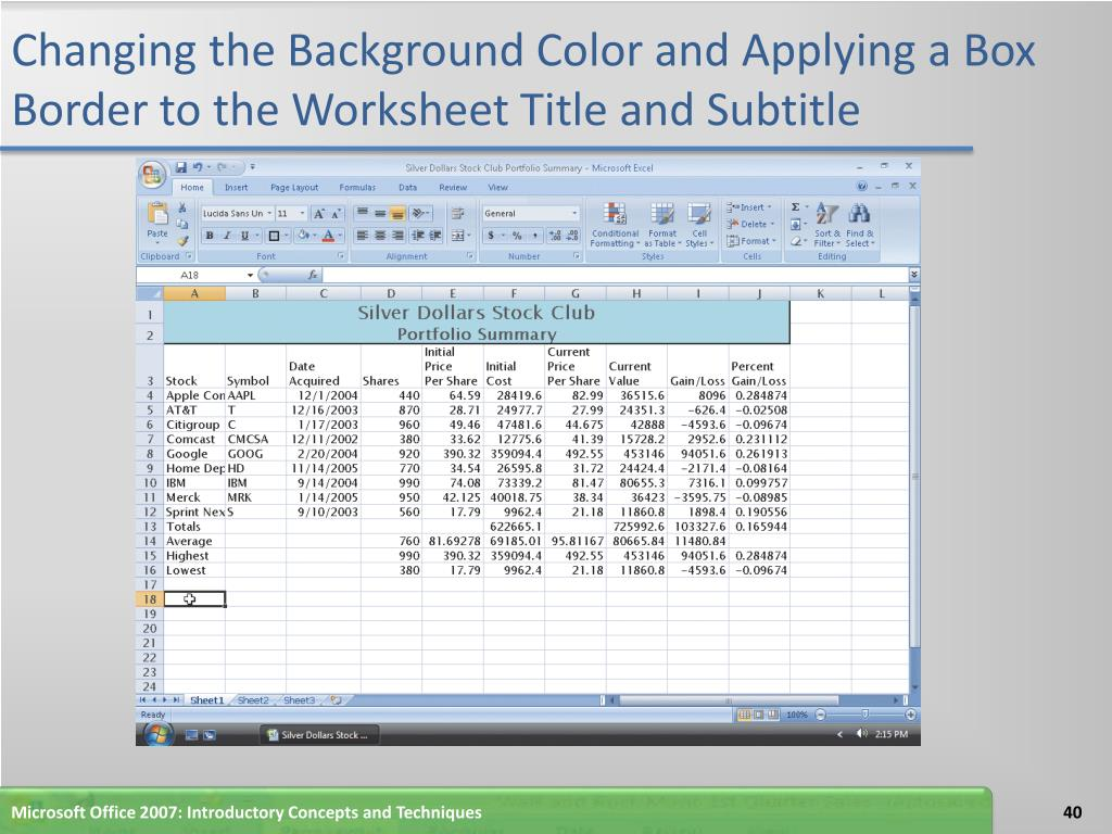 Changing the Background Color and Applying a Box Border to the Worksheet Title and Subtitle