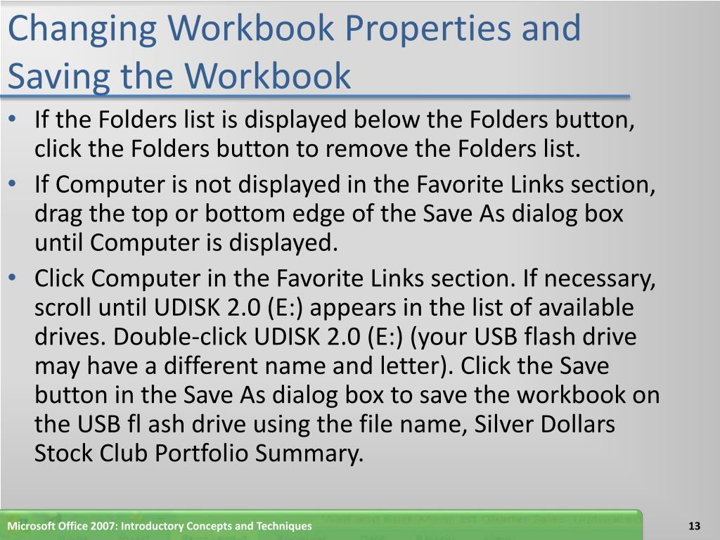 Changing Workbook Properties and Saving the Workbook