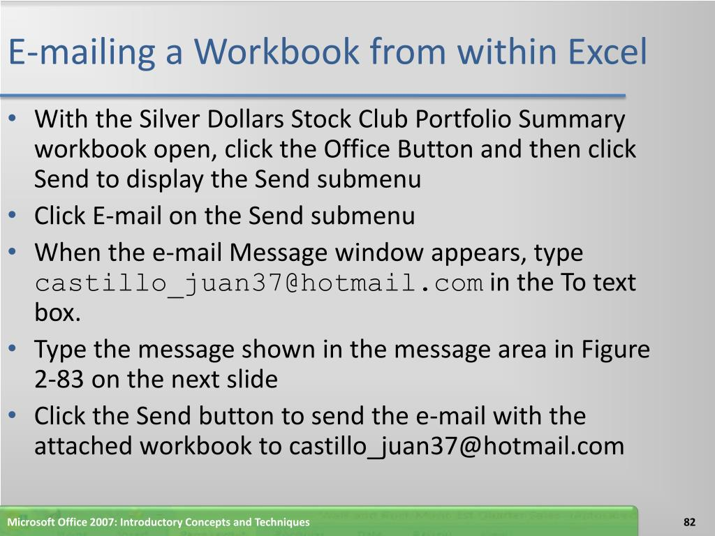 E-mailing a Workbook from within Excel