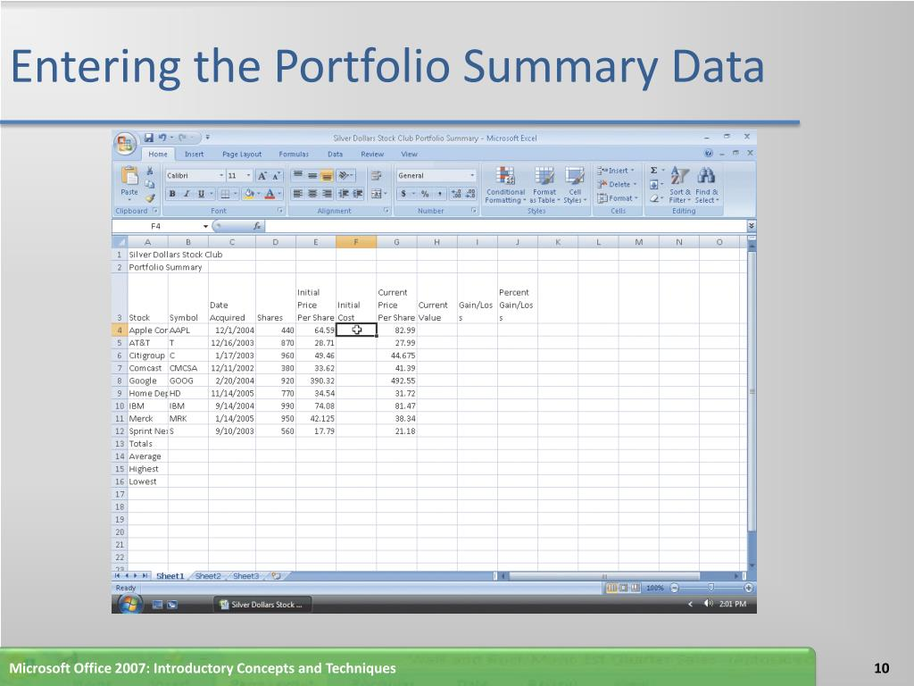 Entering the Portfolio Summary Data
