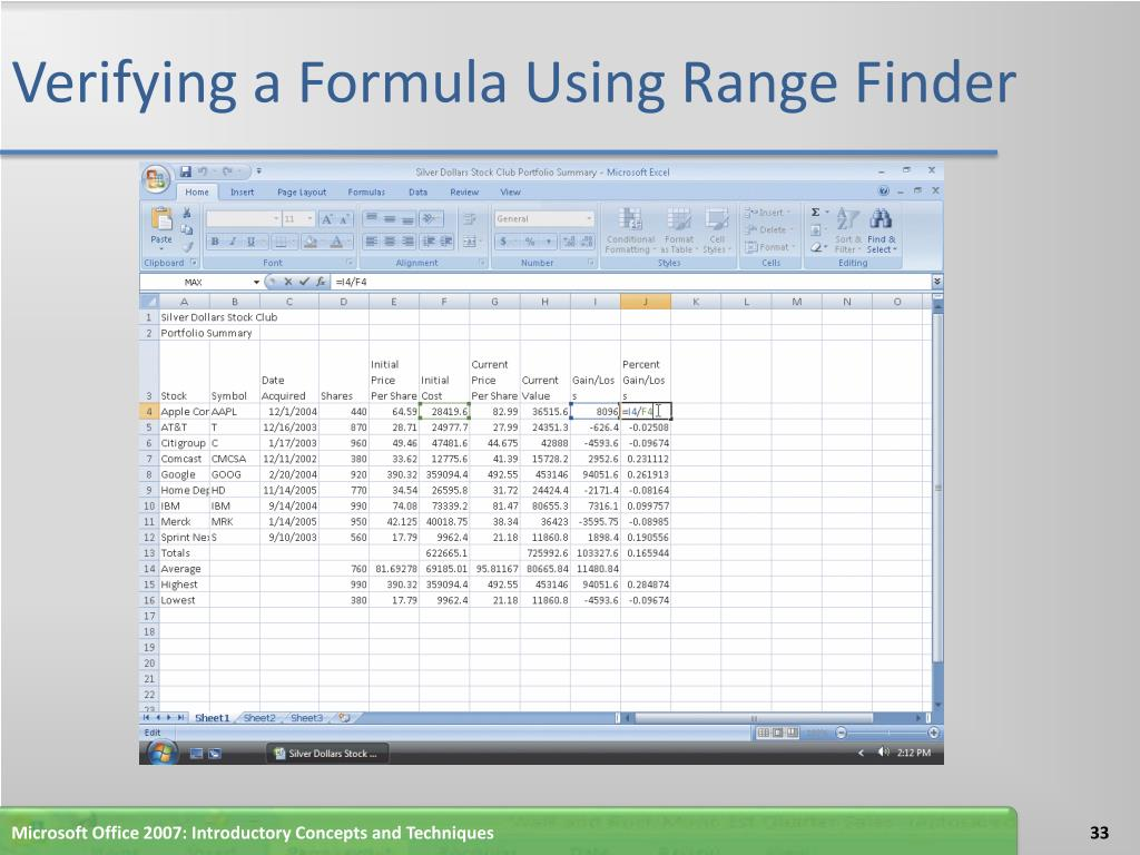 Verifying a Formula Using Range Finder