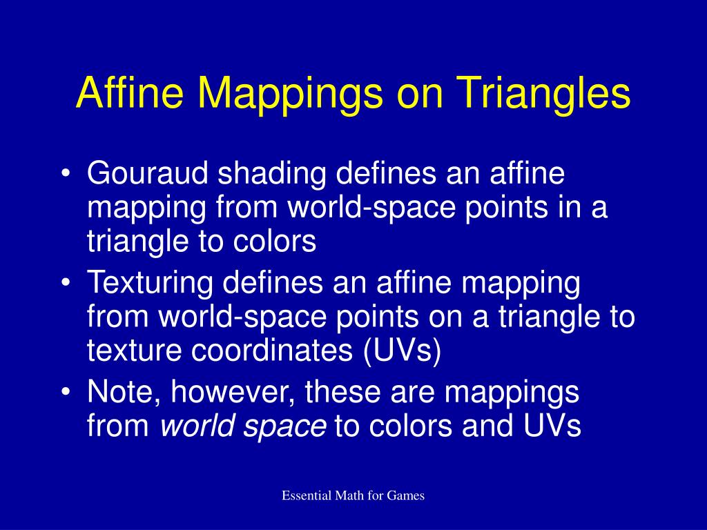 Affine Mappings on Triangles