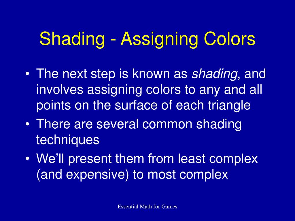 Shading - Assigning Colors