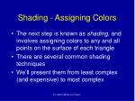 shading assigning colors