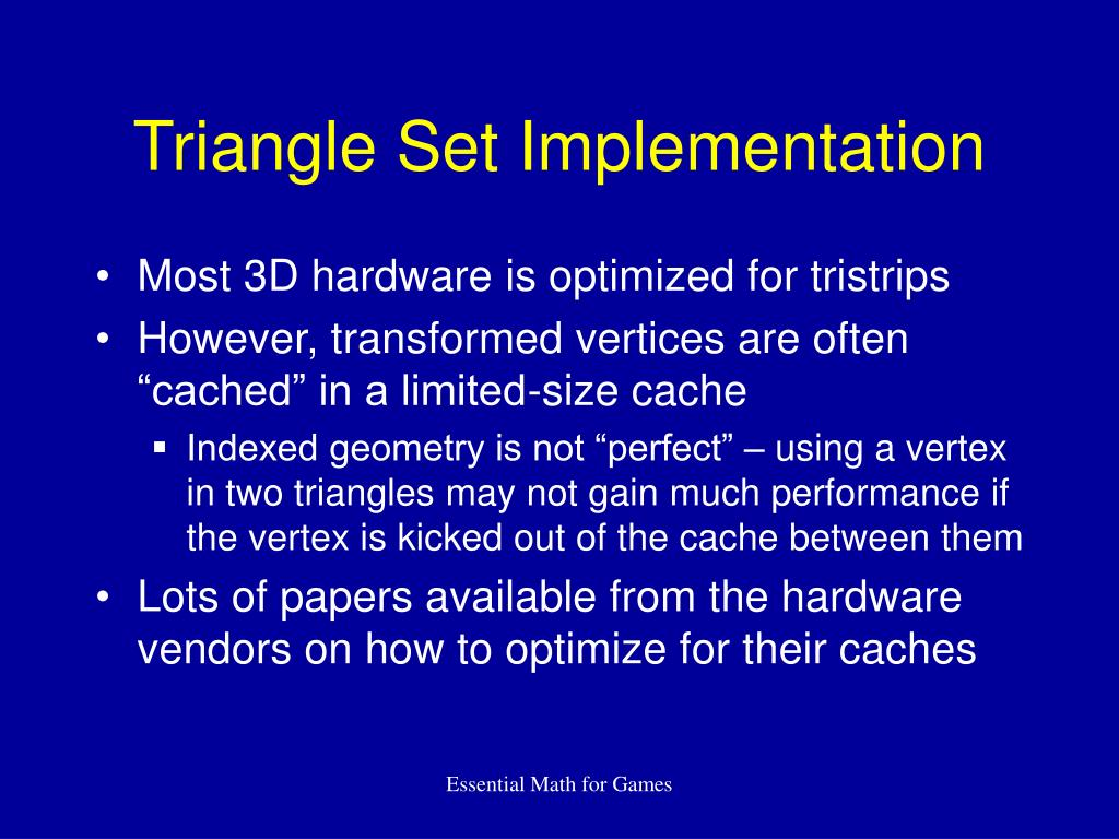 Triangle Set Implementation