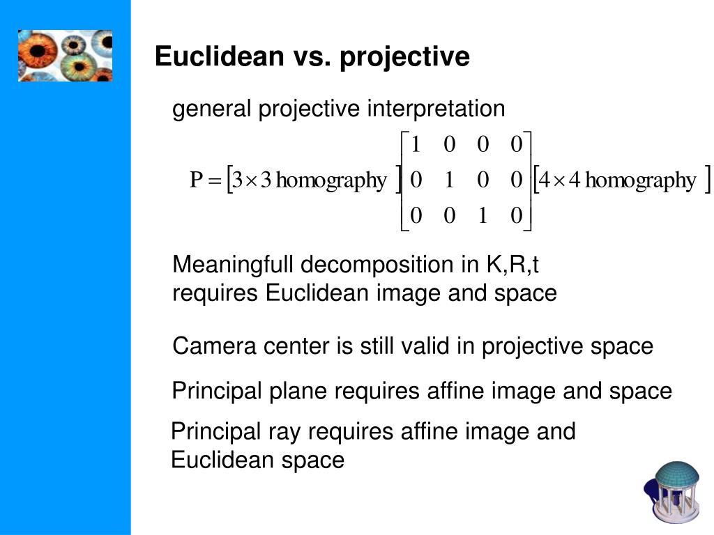 Euclidean vs. projective