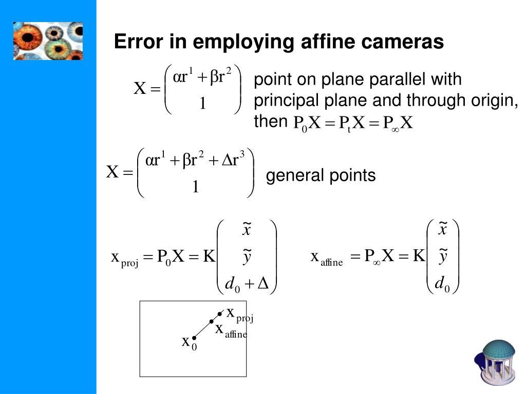 Error in employing affine cameras