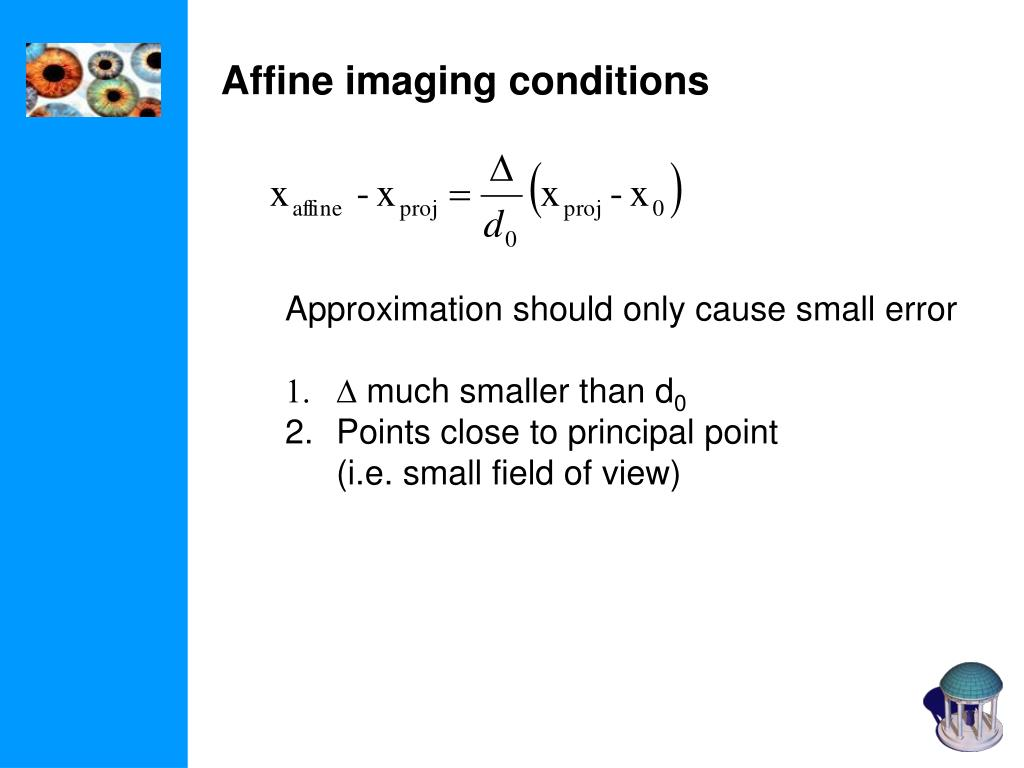 Affine imaging conditions