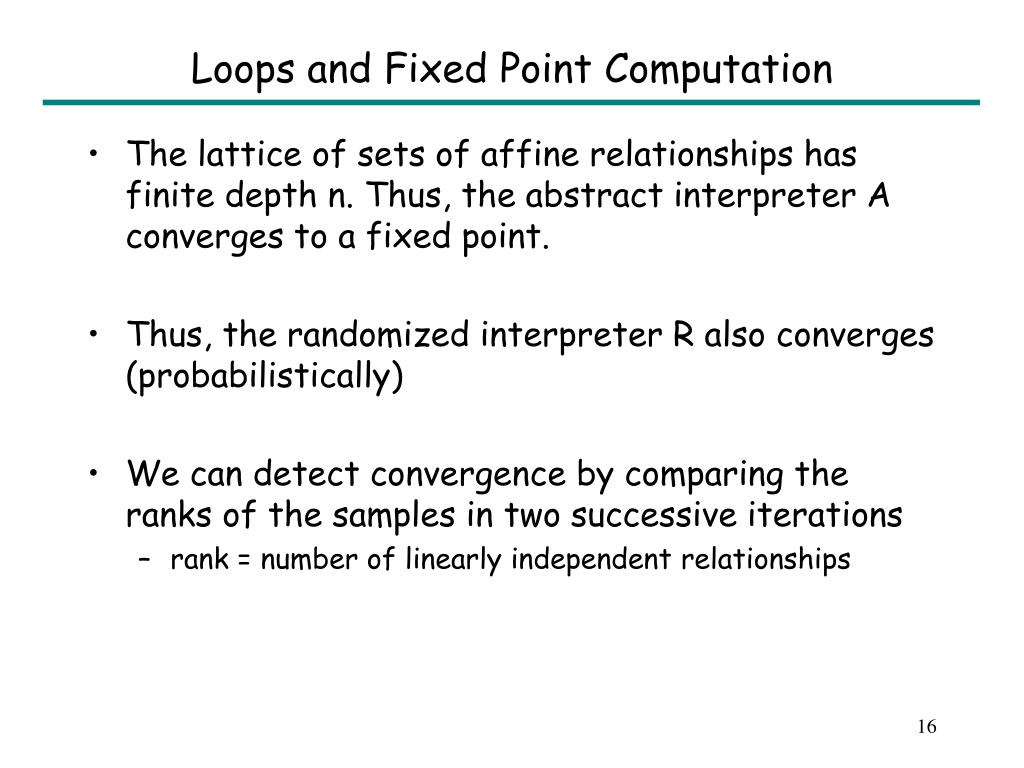 Loops and Fixed Point Computation