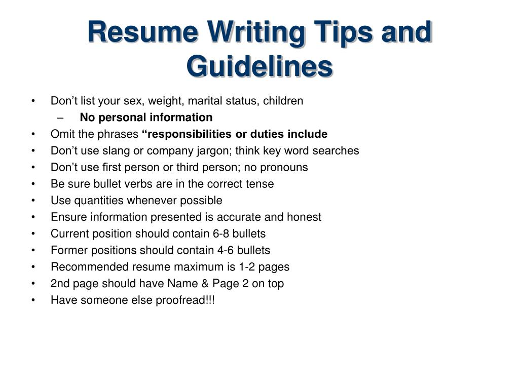 Resume Writing Tips and Guidelines