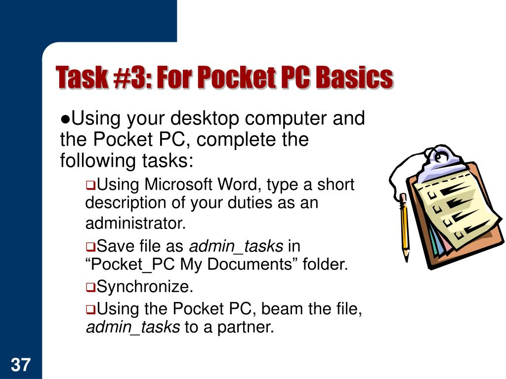 Task #3: For Pocket PC Basics