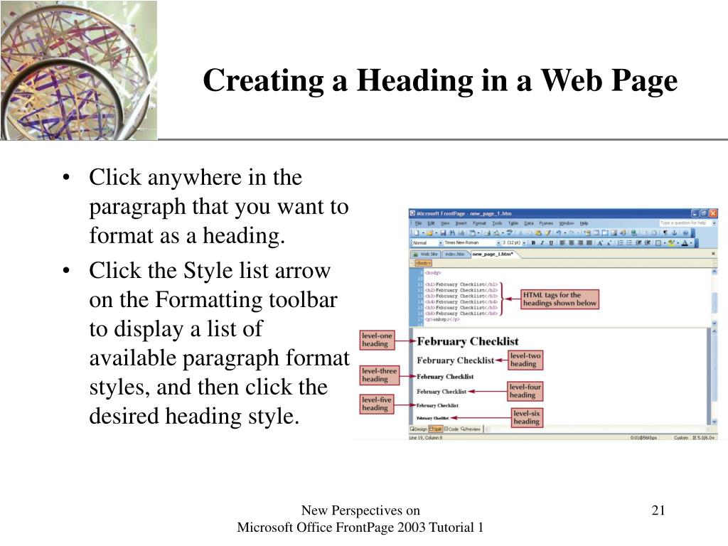 Creating a Heading in a Web Page