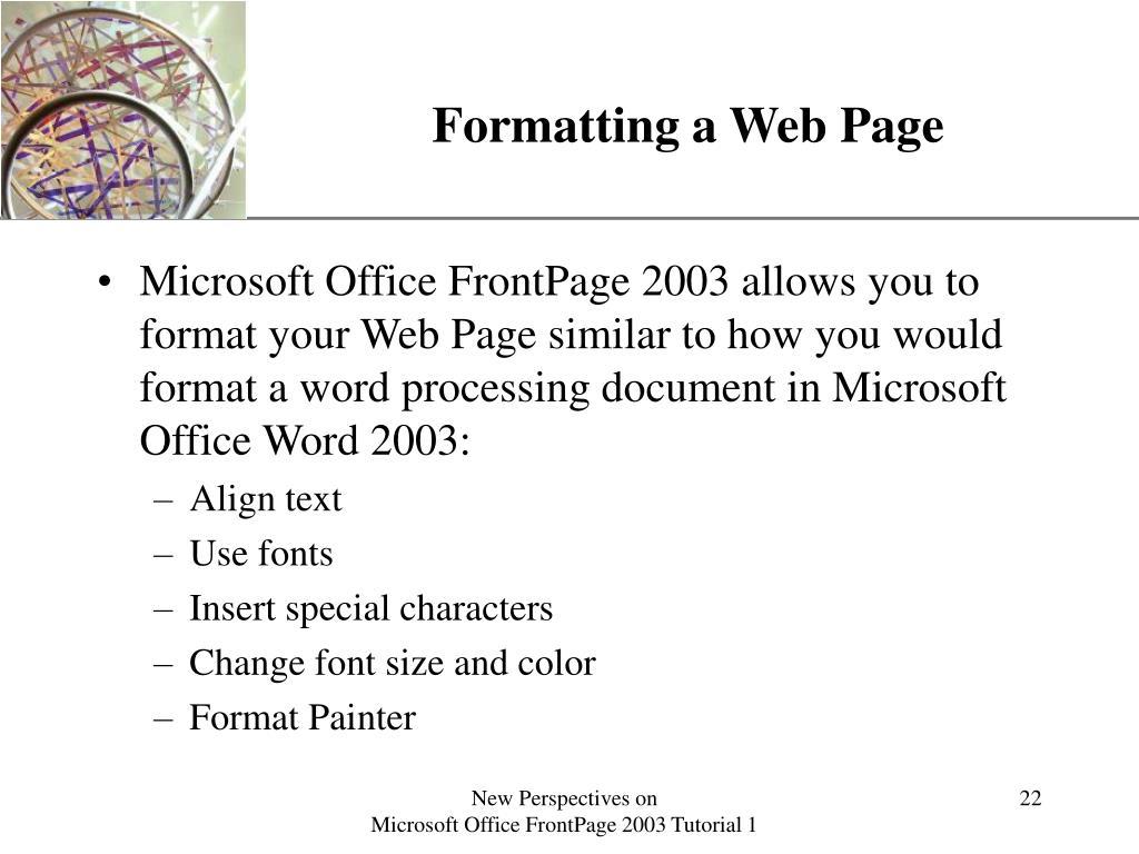 Formatting a Web Page