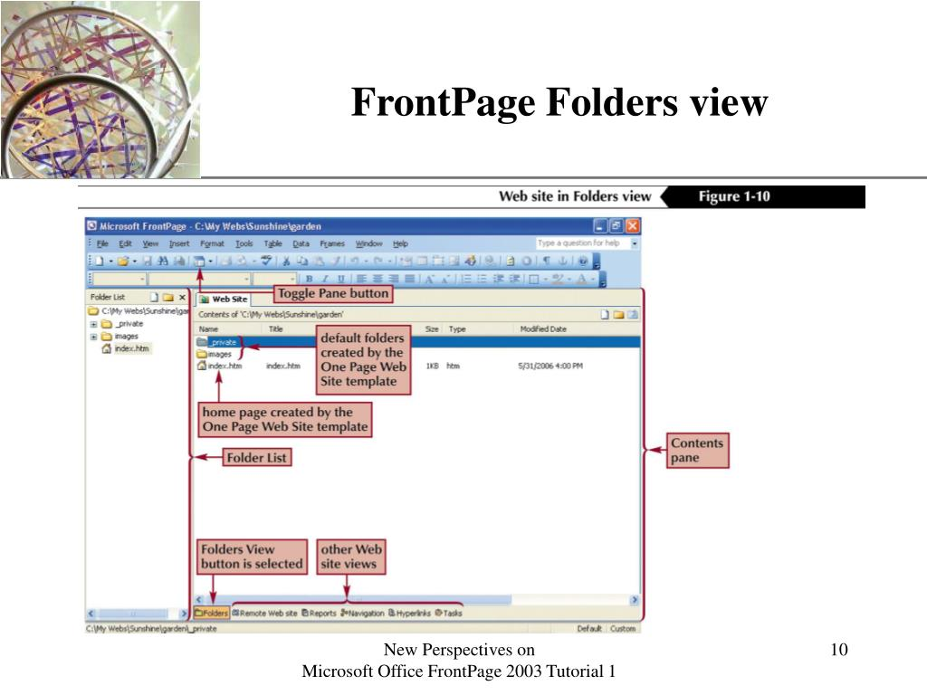 FrontPage Folders view