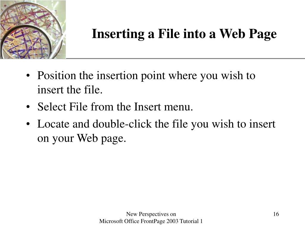 Inserting a File into a Web Page