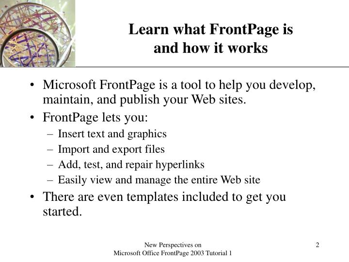 Learn what frontpage is and how it works l.jpg