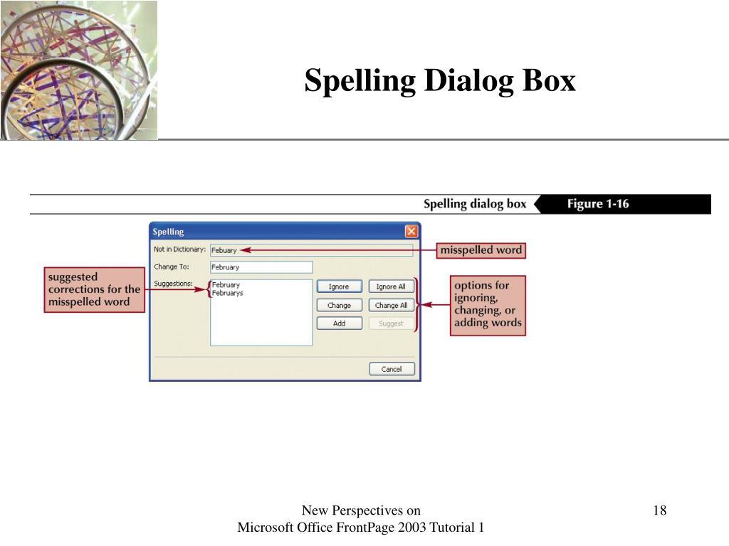 Spelling Dialog Box