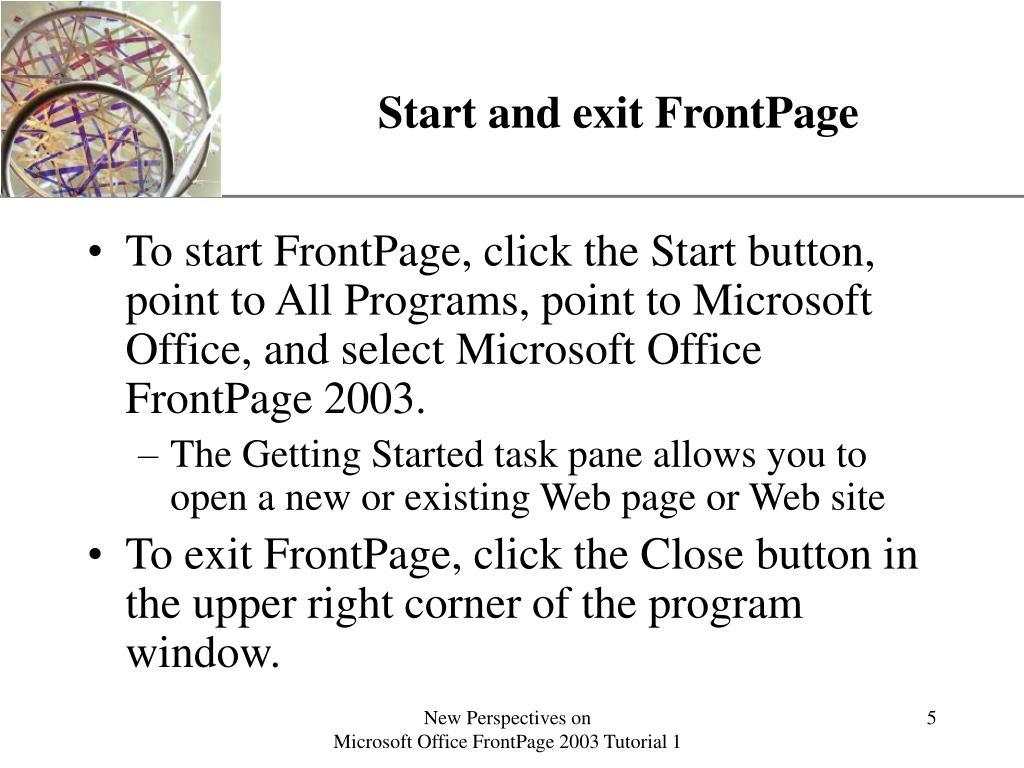 Start and exit FrontPage