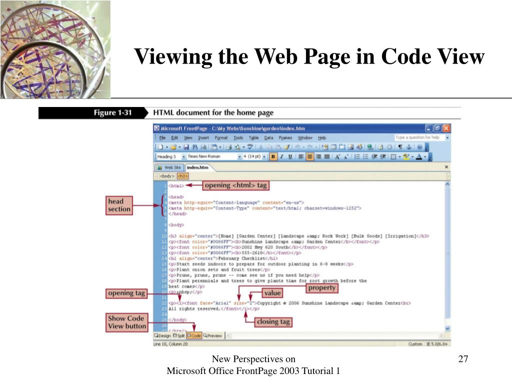 Viewing the Web Page in Code View