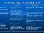 channels new vs existing sites