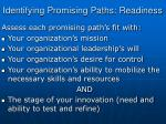 identifying promising paths readiness