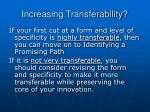 increasing transferability