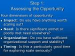 step 1 assessing the opportunity