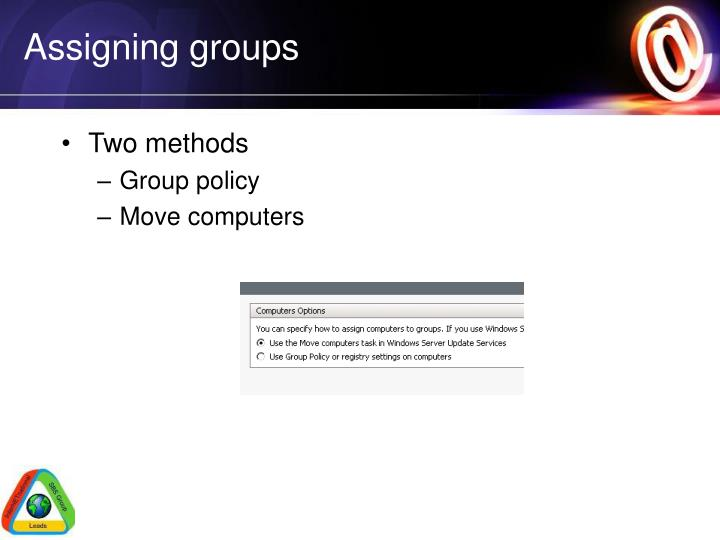 Assigning groups