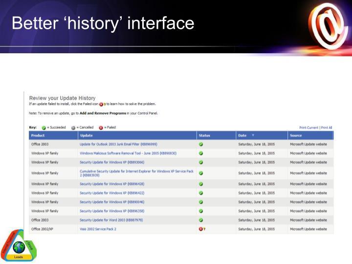 Better 'history' interface