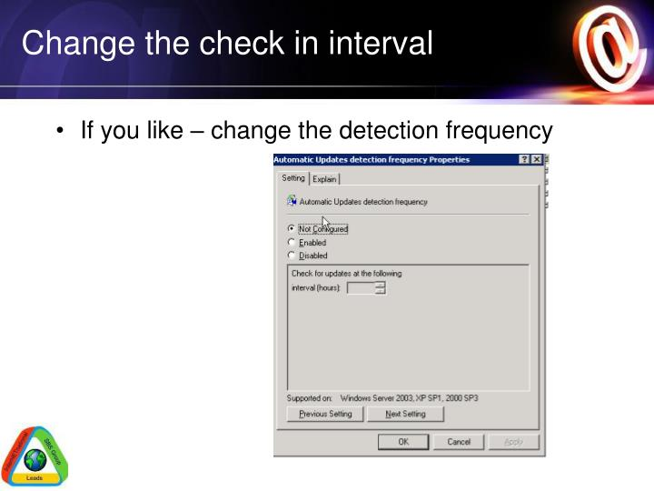 Change the check in interval
