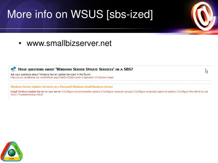 More info on WSUS [sbs-ized]