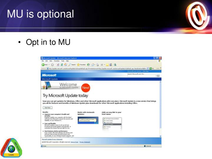 MU is optional