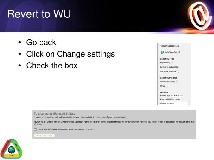 Revert to WU