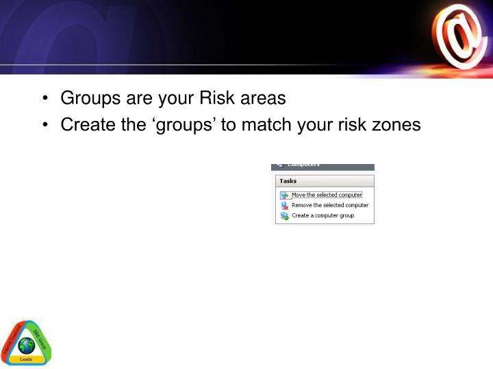 Groups are your Risk areas