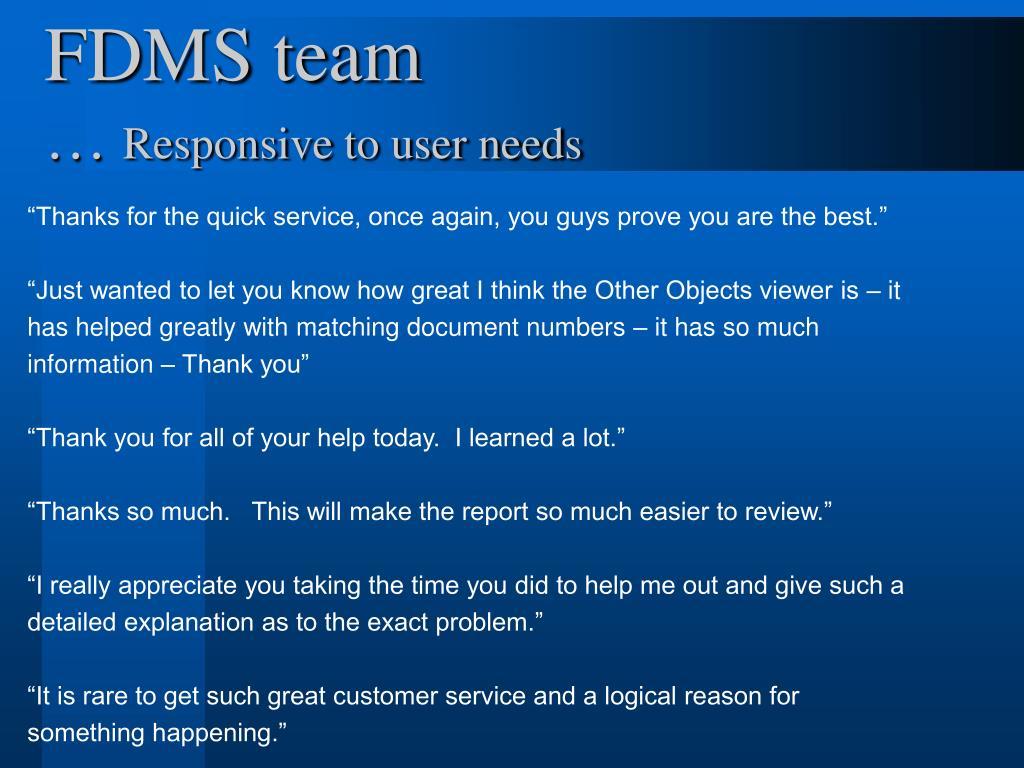 FDMS team