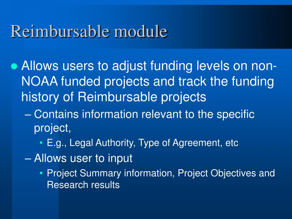 Reimbursable module