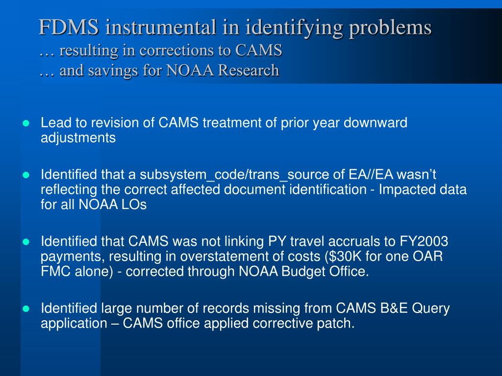 FDMS instrumental in identifying problems
