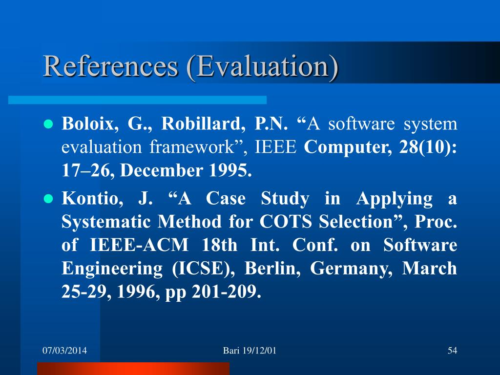 References (Evaluation)
