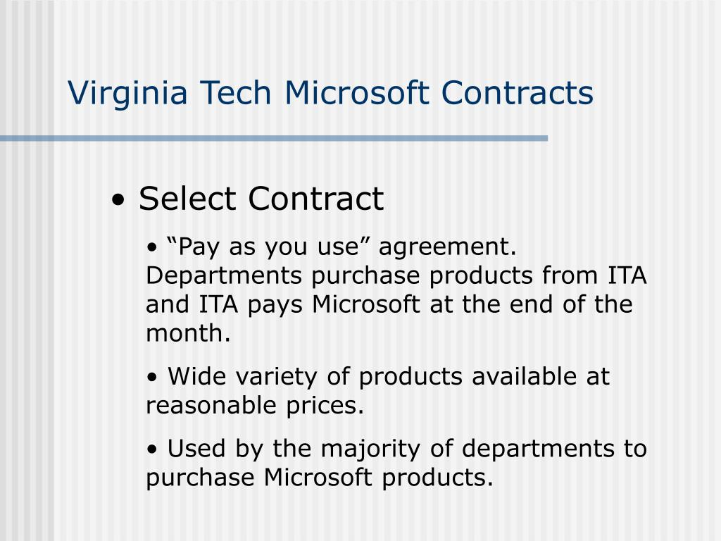 Virginia Tech Microsoft Contracts