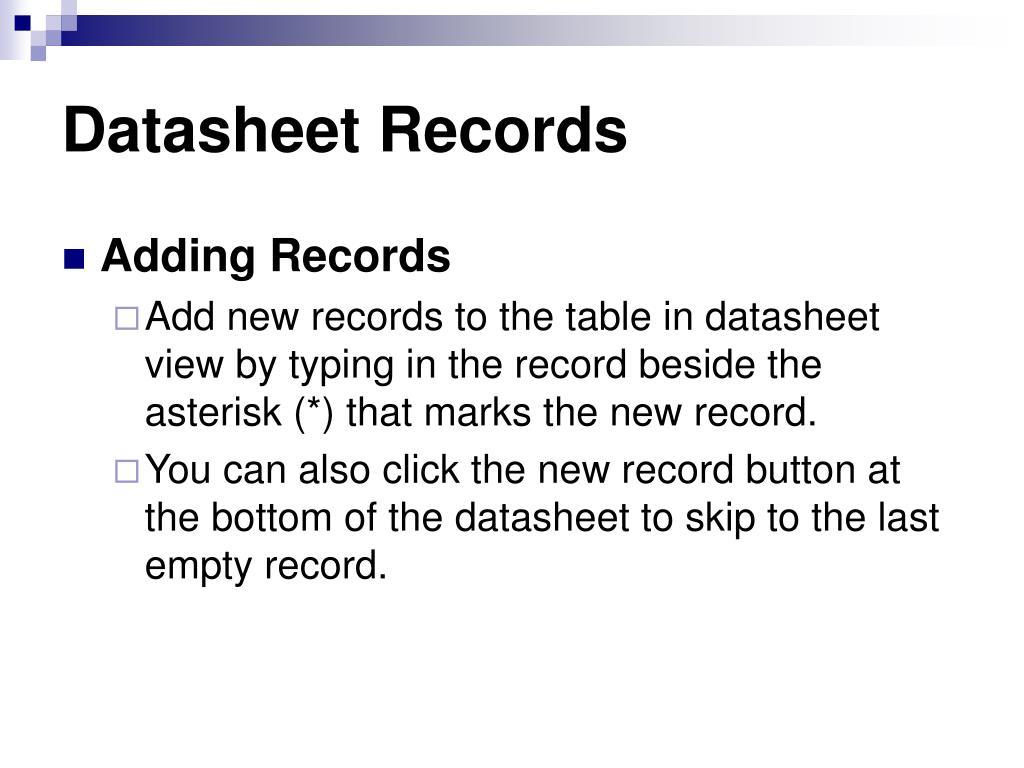 Datasheet Records