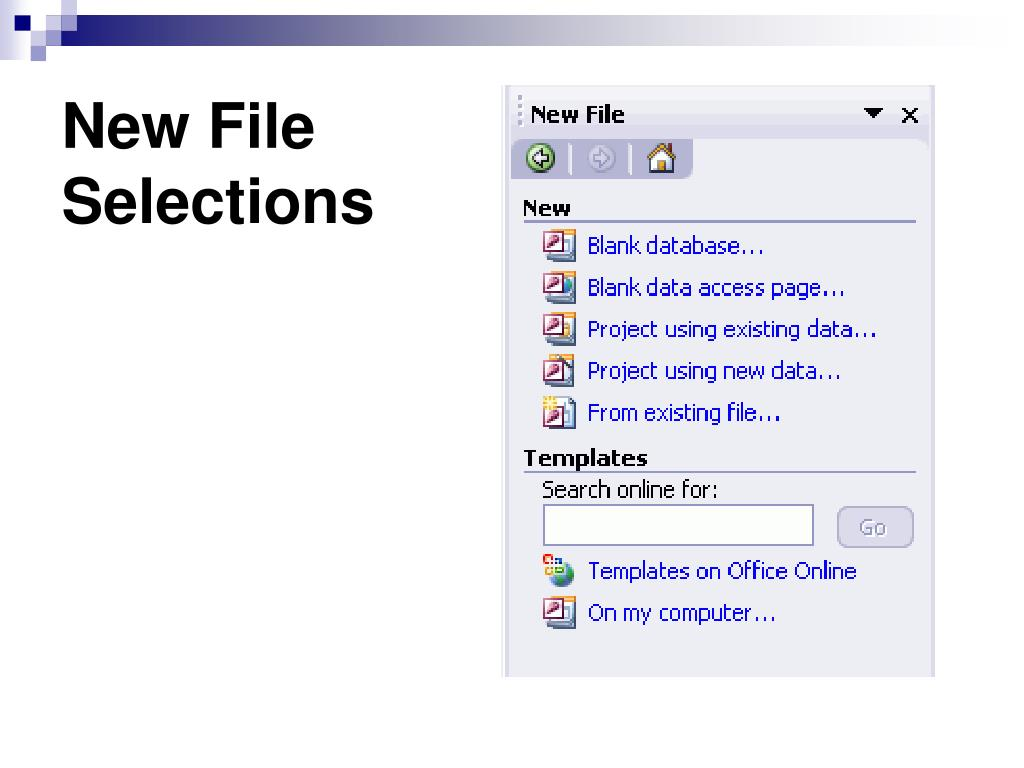 New File Selections