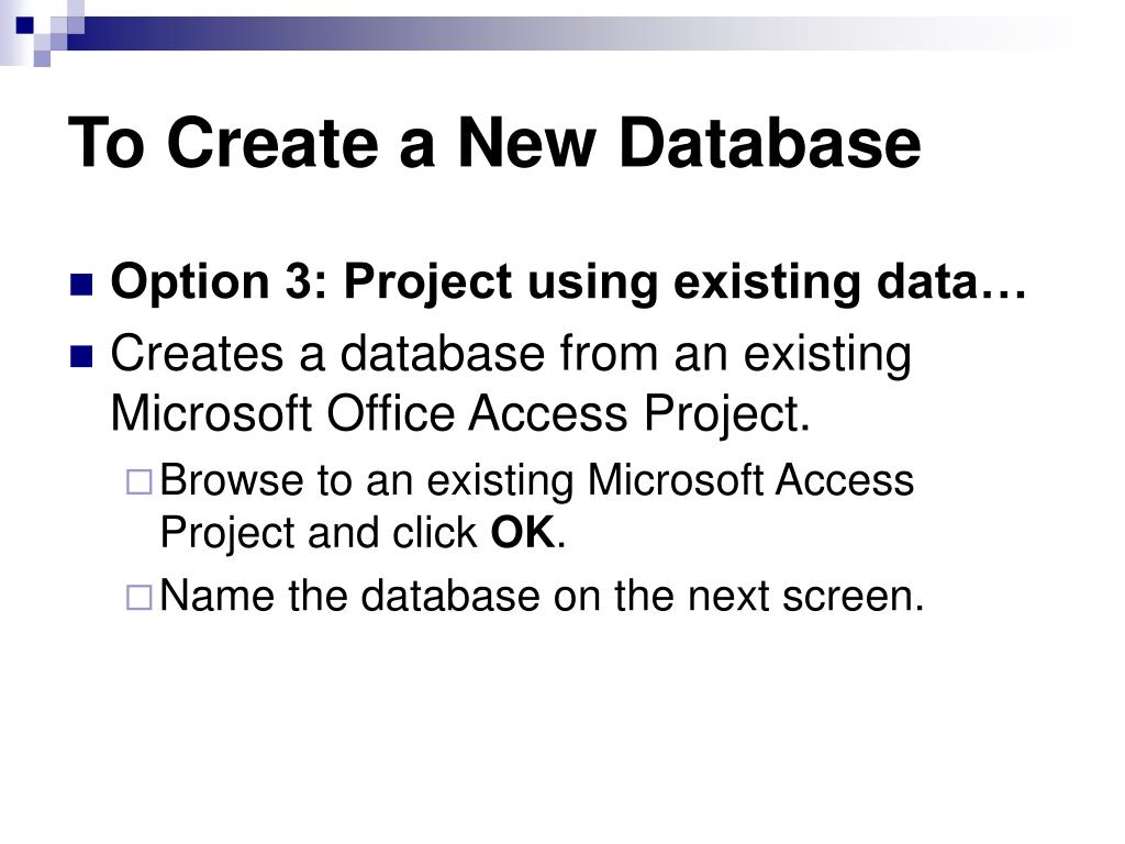 To Create a New Database