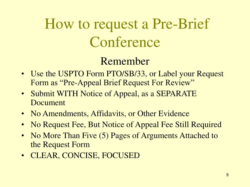 How to request a Pre-Brief Conference