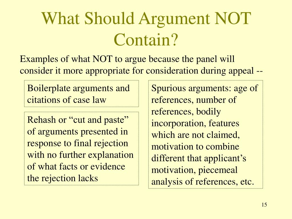 What Should Argument NOT Contain?