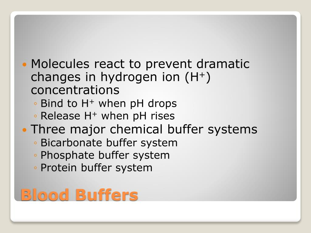 Molecules react to prevent dramatic changes in hydrogen ion (H